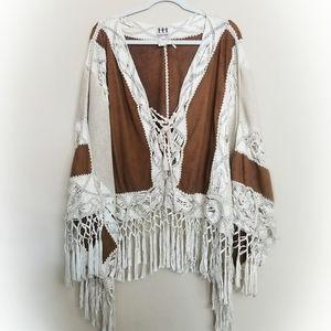 Haute Hippie Suede Fringe Crochet Poncho Top